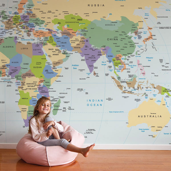 Magnetic playground wallpaper hermit homewares world map wallpaper by the wall sticker company gumiabroncs Choice Image